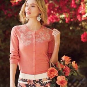 Anthropologie Sparrow Liza Embroidered Cardigan M